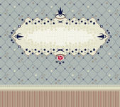 Vintage frame on seamless floral background