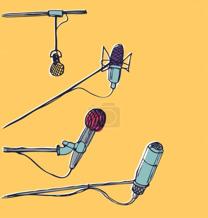 Microphones. Hand-drawn graphic elements. EPS 10 vector