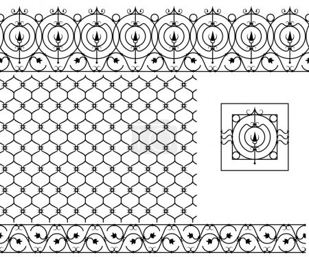 Seamless patterns set for wrought iron railing, grating, lattice