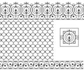 Seamless patterns set for wrought iron railing grating lattice gates fence Black silhouette