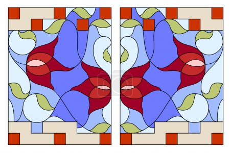 Stained glass window. Composition of stylized tulips, leaves, ge