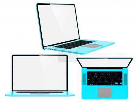Set of Blue Modern Laptops.