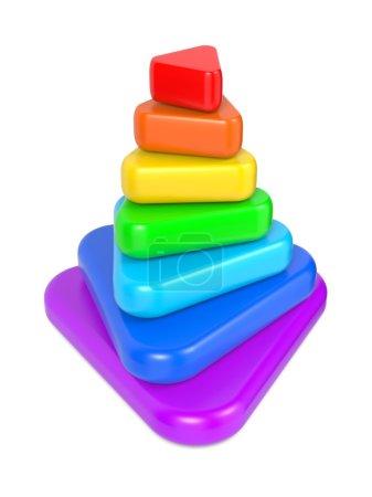 Photo pour Pyramide en couches de couleur. isolé sur blanc. - image libre de droit