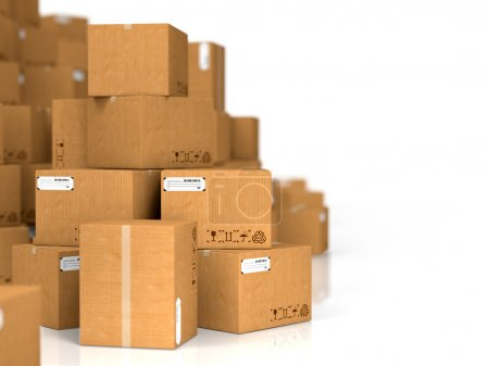 Photo for Industrial Background. Cardboard Boxes on White Background. - Royalty Free Image