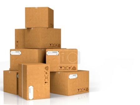Photo pour Boîtes en carton isolées sur fond blanc . - image libre de droit