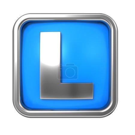 Photo pour Lettre argentée dans le cadre, sur fond bleu - Lettre L - image libre de droit
