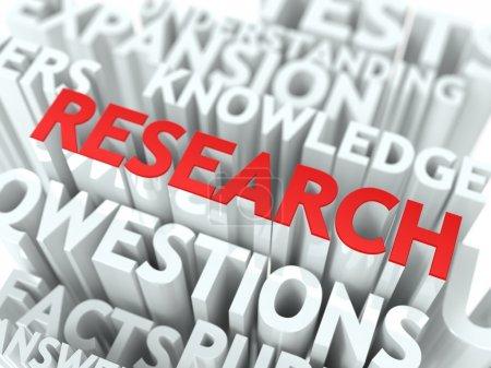 Photo pour Contexte de la recherche Conception. Recherche scientifique Word Cloud Concept . - image libre de droit