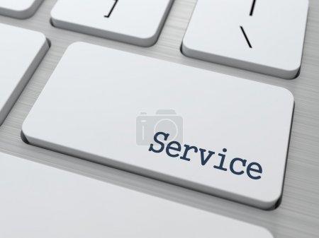 Photo pour Bouton de service sur clavier d'ordinateur moderne avec des partenaires Word dessus . - image libre de droit