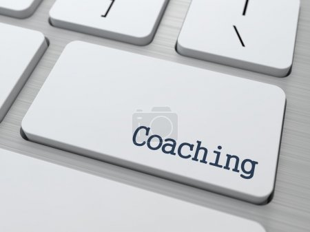Photo for Coaching Button on Modern Computer Keyboard with Word Partners on It. - Royalty Free Image