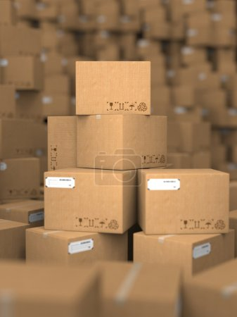 Photo for Stacks of Cardboard Boxes, Industrial Background. - Royalty Free Image