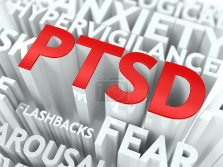 Photo for PTSD Concept. The Word of Red Color Located over Text of White Color. - Royalty Free Image