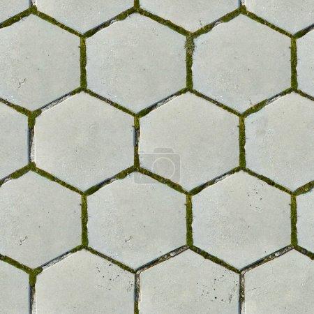 Old Hexagonal Paving Slabs. Seamless Texture.