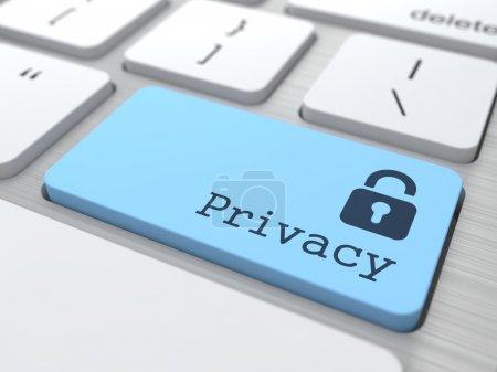 Foto de Concepto de privacidad. botón azul con el icono de candado en el teclado de la computadora moderna. render 3D. - Imagen libre de derechos