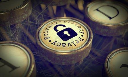 Foto de Botón de privacidad con el icono de candado en la vieja máquina de escribir. Fondo Grunge para sus publicaciones. render 3D. - Imagen libre de derechos