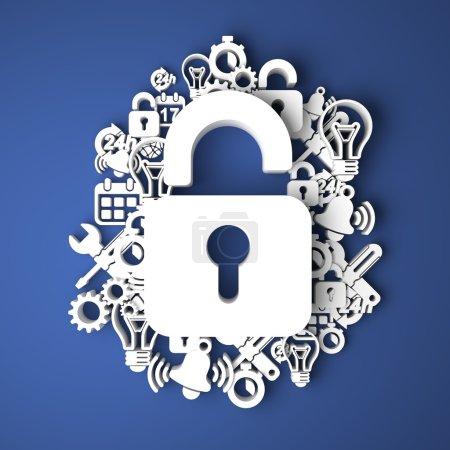 Photo pour Carte d'information sécurité à la main des personnages de papier sur fond bleu. rendu 3D. concept d'affaires - image libre de droit
