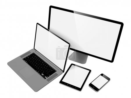 Photo for Computer, Laptop and Phone. Set of Computer Devices. - Royalty Free Image