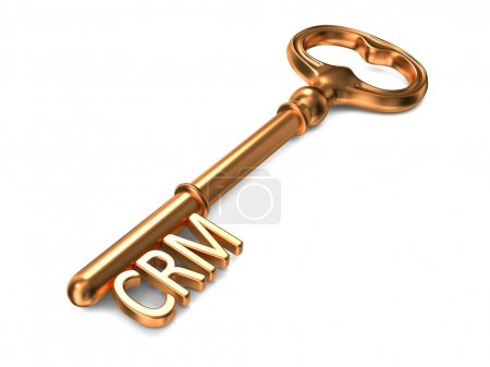 Photo for CRM - Golden Key on White Background. 3D Render. Business Concept. - Royalty Free Image