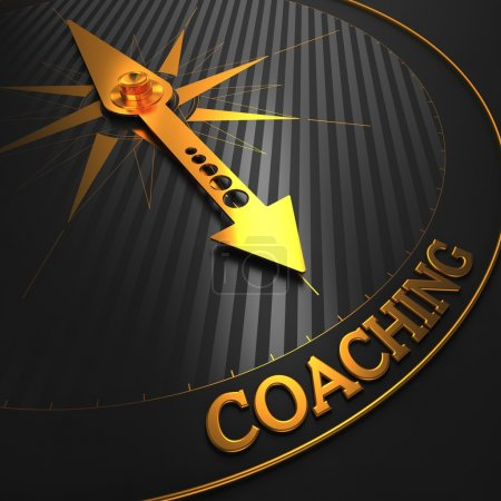 "Photo for Coaching - Business Background. Golden Compass Needle on a Black Field Pointing to the Word ""Coaching"". 3D Render. - Royalty Free Image"