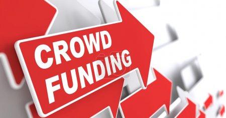 """Photo pour Financement participatif. Concept Internet. Red Arrow avec """"Crowd Funding"""" Slogan sur fond gris. Expéditeur 3D . - image libre de droit"""