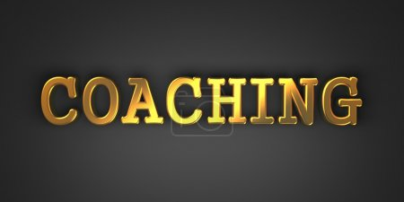 Photo pour Coaching - Gold Text on Dark Background. Business Concept. 3D Render. - image libre de droit