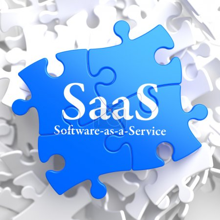 Photo for SAAS - Software-as-a-Service - Written on Blue Puzzle Pieces. Information Technology Concept. 3D Render. - Royalty Free Image
