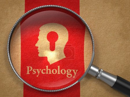 Photo for Psychology Concept: Magnifying Glass with Word Psychology and Icon of Head with a Keyhole on Old Paper with Red Vertical Line Background. - Royalty Free Image