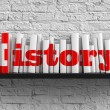 History - Red Inscription on the Books on Shelf on...