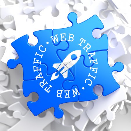 Web Traffic Concept on Blue Puzzle.