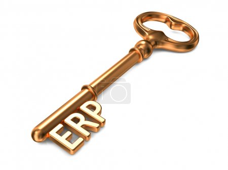 Photo for ERP - Enterprise Resource Planning - Golden Key on White Background. Business Concept. - Royalty Free Image