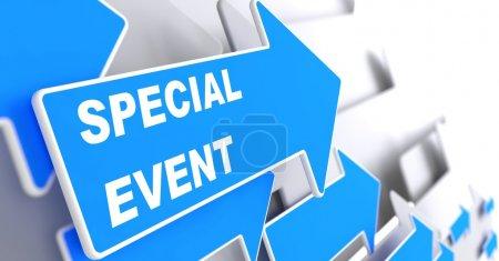 """Photo pour Événement spécial. Flèche bleue avec """"Événement spécial"""" Slogan sur fond gris . - image libre de droit"""