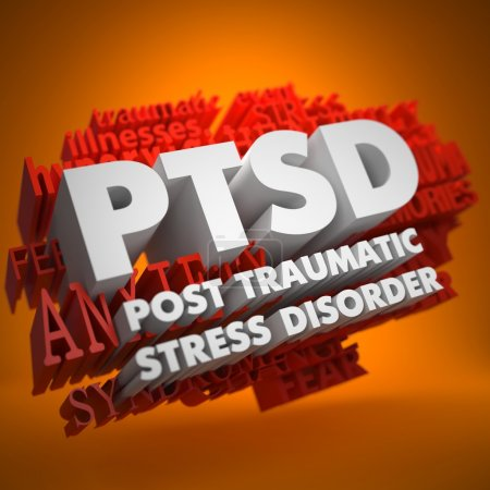 Photo for PTSD - Posttraumatic Stress Disorder - the Words in White Color on Cloud of Red Words on Orange Background. - Royalty Free Image