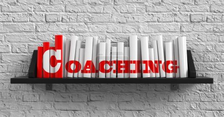 Photo for Coaching - Red Inscription on the Books on Shelf on the White Brick Wall Background. Education Concept. - Royalty Free Image