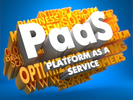Photo for PAAS - Platform-as-a-Service - on Yellow WordCloud on Blue Background. - Royalty Free Image