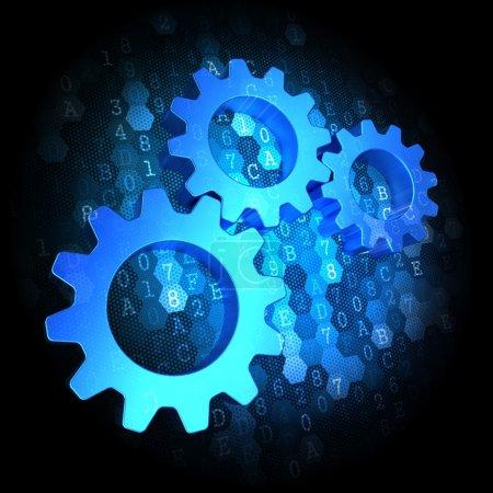 Photo for Blue Cogwheel Gear Mechanism Icon on Dark Digital Background. - Royalty Free Image