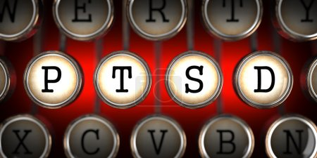 Photo for PTSD on Old Typewriter's Keys on Red Background. - Royalty Free Image