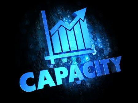 Photo pour Capacité avec graphique de croissance - Texte de couleur bleue sur fond numérique foncé . - image libre de droit
