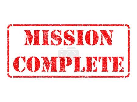 Photo pour Mission terminée - Inscription sur timbre en caoutchouc rouge isolé sur blanc . - image libre de droit