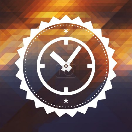 Photo for Time Concept - Icon of Clock Face. Retro label design. Hipster background made of triangles, color flow effect. - Royalty Free Image