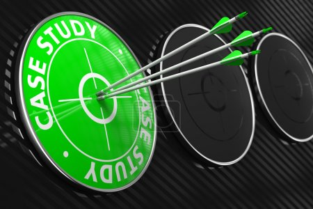 Photo for Case Study. Three Arrows Hitting the Center of Green Target on Black Background. - Royalty Free Image