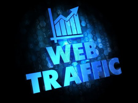 Photo for Web Traffic. Growth Concept. Blue Color Text on Dark Digital Background. - Royalty Free Image