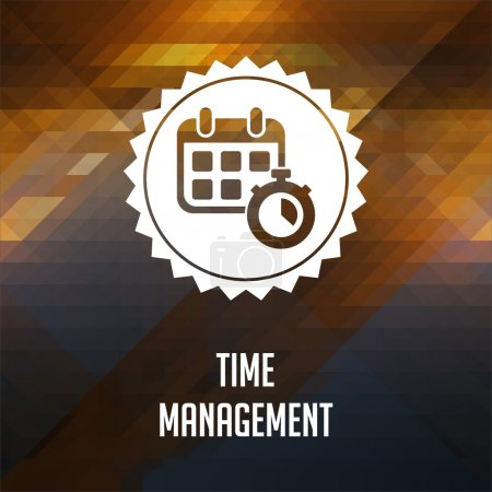 Photo for Time Management. Retro label design. Hipster background made of triangles, color flow effect. - Royalty Free Image