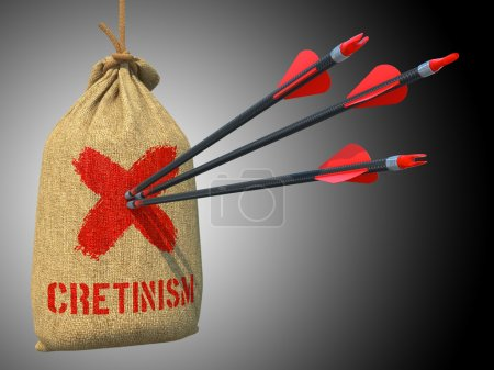 Photo for Cretinism - Three Arrows Hit in Red Mark Target on a Hanging Sack on Grey Background. - Royalty Free Image