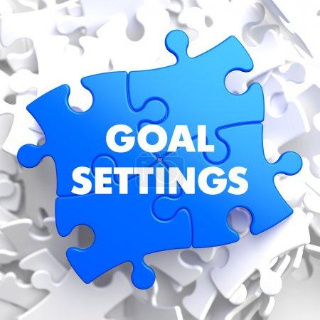 Photo pour Paramètres de l'objectif sur puzzle bleu sur fond blanc. - image libre de droit