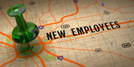 New Employees - Green Pushpin on a Map Background.