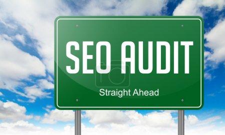 Seo Audit on Green Highway Signpost.