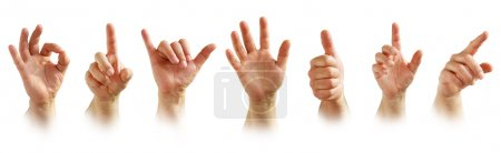 Photo for Collection of seven male hand signs isolated in white background - Royalty Free Image