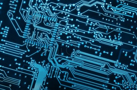 Close up background of a blue electronic circuit b...