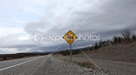 Dopravní značka varování před guanako