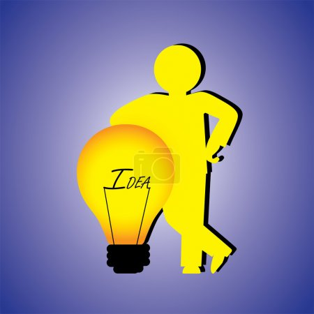 Illustration conceptuelle d'une personne avec des idées créatives. Le graphique