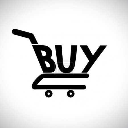 Concept illustration of shopping cart with the word buy. The gra